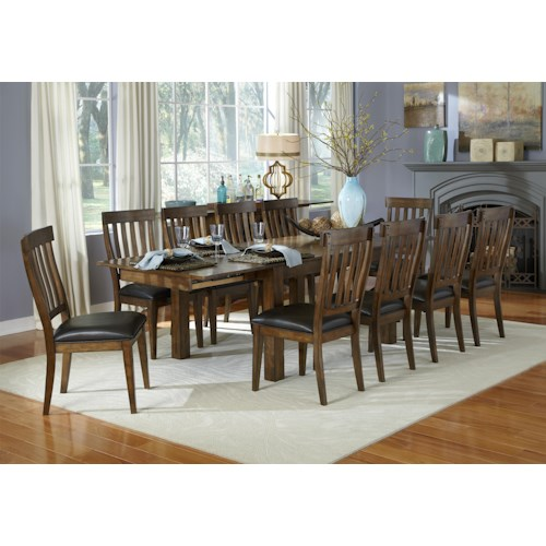 AAmerica Mariposa 11 Piece Dining Table and Slatback Chairs Set