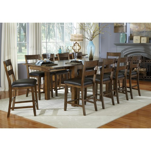 AAmerica Mariposa 11 Piece Gathering Table and Ladderback Side Chairs