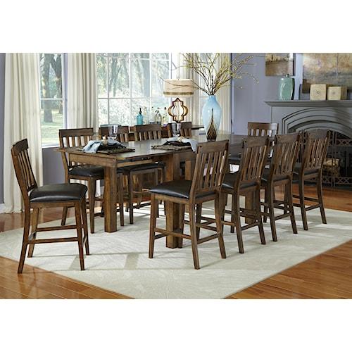 AAmerica Mariposa 11 Piece Gathering Table and Slatback Chairs Set