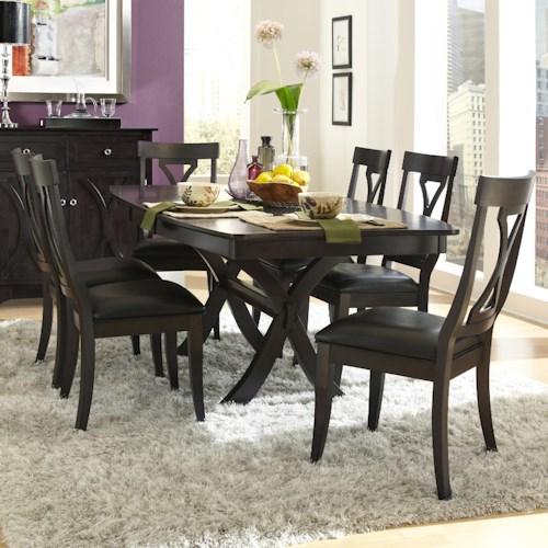 AAmerica Midtown 7 Piece Trestle Table and Side Chairs Set