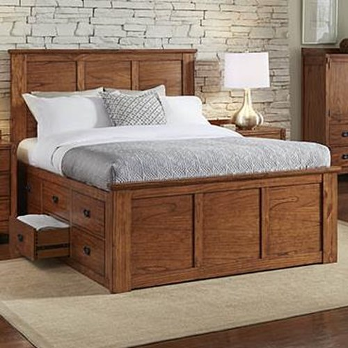 AAmerica Mission Hill Queen Captain's Bed with Storage Drawers