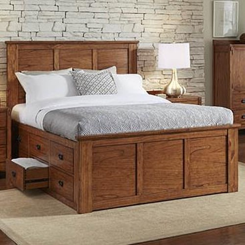 AAmerica Mission Hill California King Captain's Bed with Storage Drawers