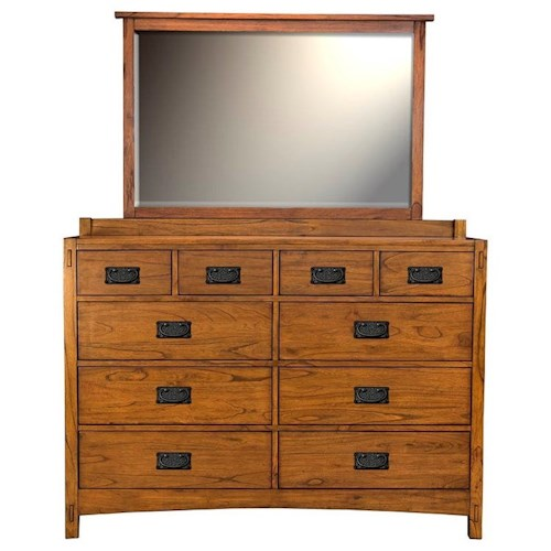 AAmerica Mission Hill Dresser and Mirror Set