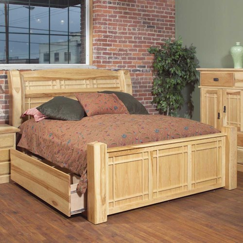 AAmerica Amish Highlands King Arch Panel Bed W/Storage Box