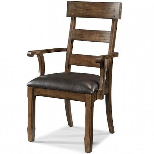 AAmerica Ozark Plank Arm Chair with Upholstered Seat