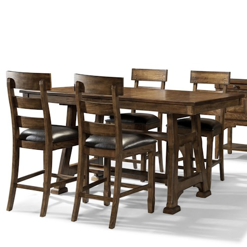 AAmerica Ozark Transitional 5 Piece Trestle Pub Table and Plank Stool Set