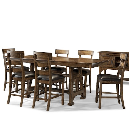 AAmerica Ozark Transitional 7 Piece Pub Table and Plank Stool Set