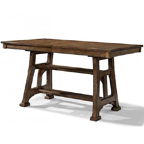 AAmerica Ozark Gathering Height Trestle Table with Shelf