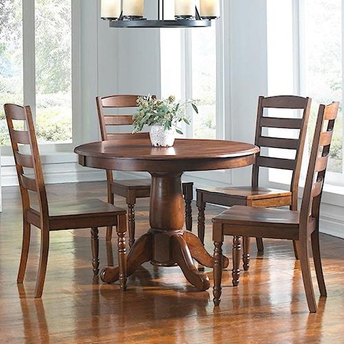 AAmerica Roanoke 5 Piece Oval Extension Pedestal Table & Ladderback Chair Set