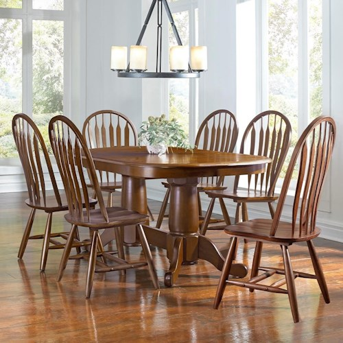 AAmerica Roanoke 7 Piece Butterfly Ext. Trestle Table & Arrowback Chair Set