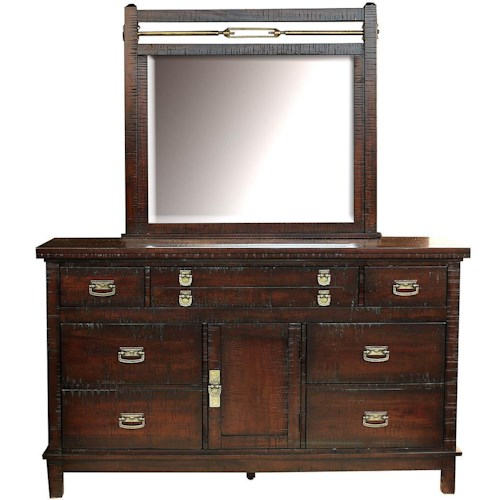 AAmerica Suncadia Dresser with 8 Drawers and Door and Mirror Set