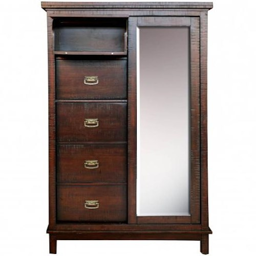 AAmerica Suncadia Wardrobe with Mirror, Door, 3 Drawers, and 2 Self Storing Drawers