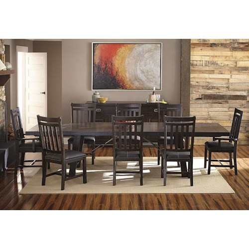 AAmerica Sundance Occ 9-Piece Trestle Table and Slat Back Chairs Dining Set