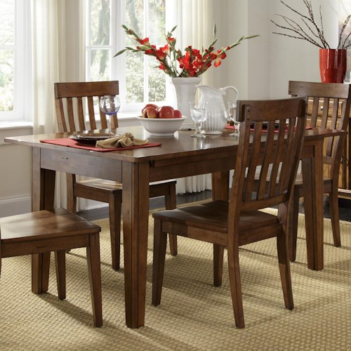 AAmerica Toluca Solid Wood Leg Table with 3 Self-Storing Leaves