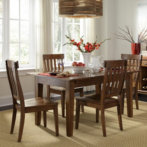AAmerica Toluca Vers-A-Table with 4 Slat-Back Side Chairs