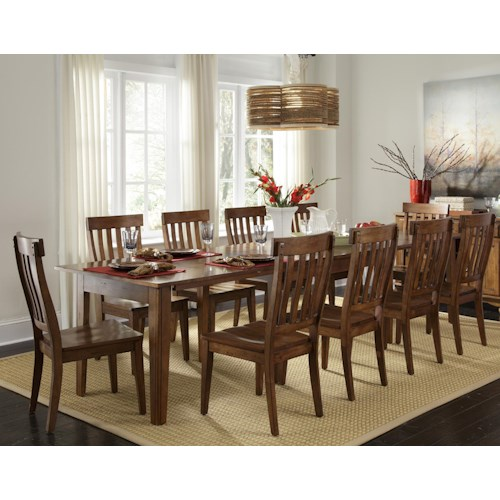 AAmerica Toluca Vers-A-Table with 6 Slat-Back Side Chairs
