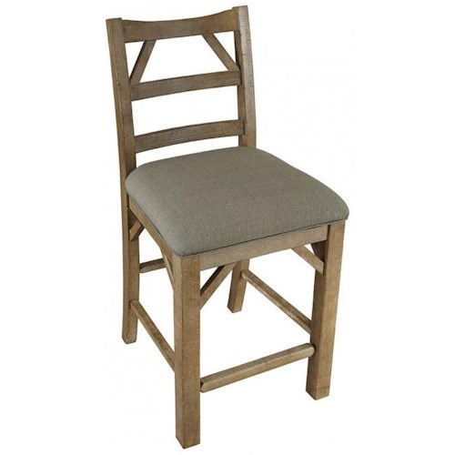 AAmerica West Valley Rustic Casual Ladder Back Stool