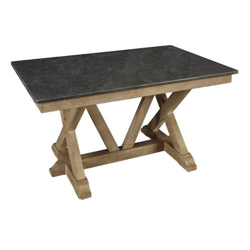 AAmerica West Valley Rustic Casual Trestle Dining Table