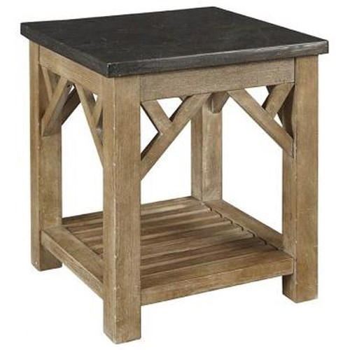 AAmerica West Valley Rustic Casual End Table with Shelf