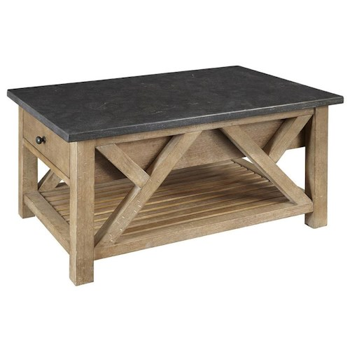 AAmerica West Valley Rustic Casual Cocktail Table with Lower Shelf