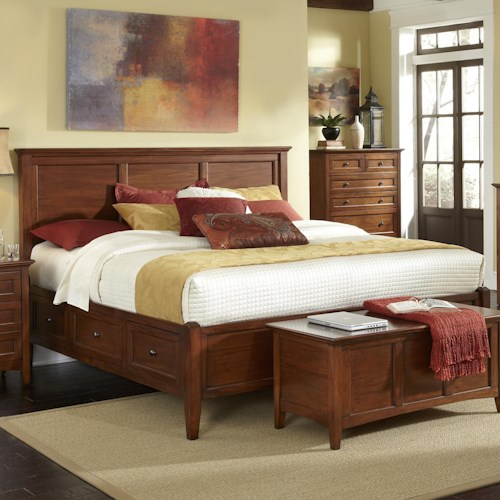 AAmerica Westlake Transitional King Bed with 6 Storage Drawers