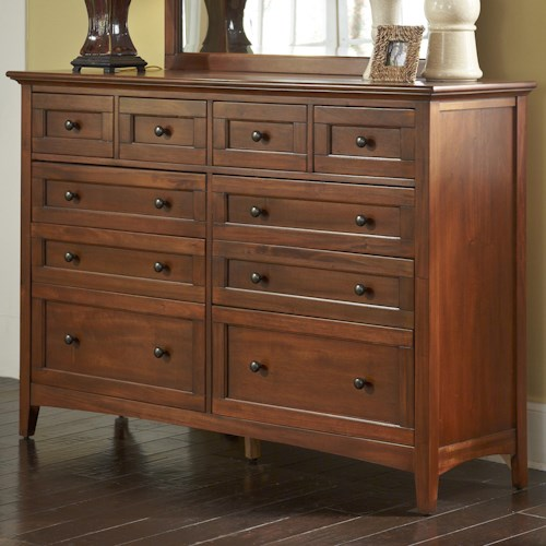 AAmerica Westlake Transitional 10-Drawer Dresser with Felt Lined Top Drawers