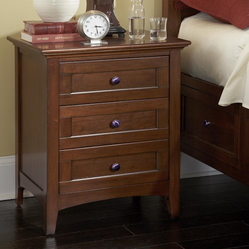 AAmerica Westlake Transitional 3 Drawer Night Stand with Cord Managment