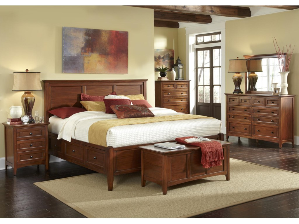 Shown with Bed, Chest, Storage Bench, Dresser, and Mirror