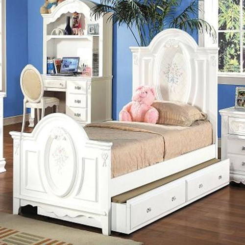 Acme Furniture 01660 Full Panel Bed with Painted Floral and Carved Details
