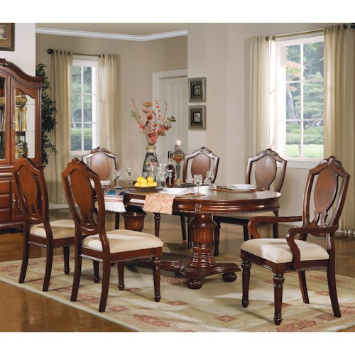 Acme Furniture 11800 Traditional Oval Double-Pedestal Table with Splat-Back Chairs