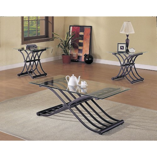 Acme Furniture 2708 X-Shaped Fold Out Wave Base 3 Piece Coffee/End Table Set
