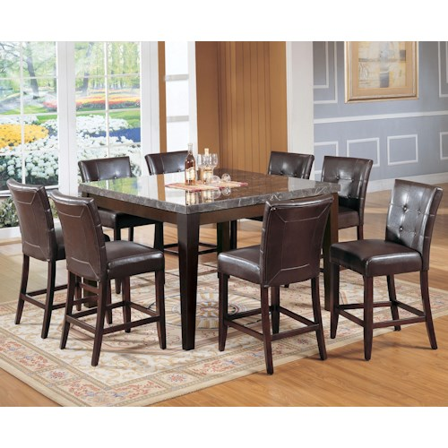 Acme Furniture Canville Canville Marble Top Counter Height Table Set