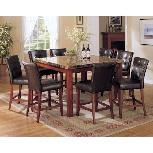 Acme Furniture 7380 Bologna 9 Piece Counter Height w/ Marble Top Table Set