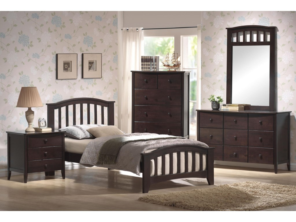 Shown with Nightstand, Dresser, Mirror & Bed