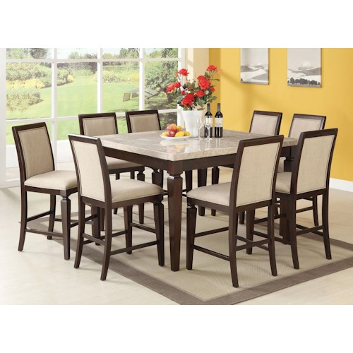 Acme Furniture Agatha Nine-Piece Counter Height Table and Stool Dining Set