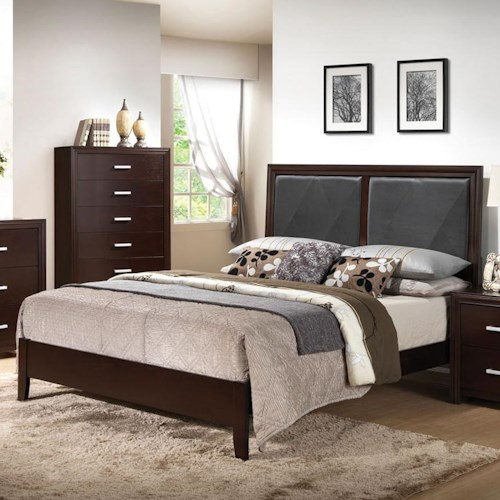 Acme Furniture Ajay Cal King Bed with Upholstered Black PVC Headboard