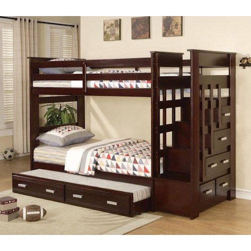 Acme Furniture Allentown Twin Over Twin Bunkbed with Trundle and Storage Drawers