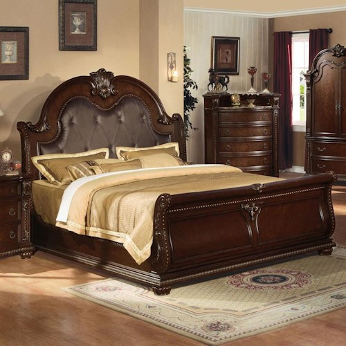 Acme Furniture Anondale Traditional King Sleigh Bed W/Bonded Leather Headboard