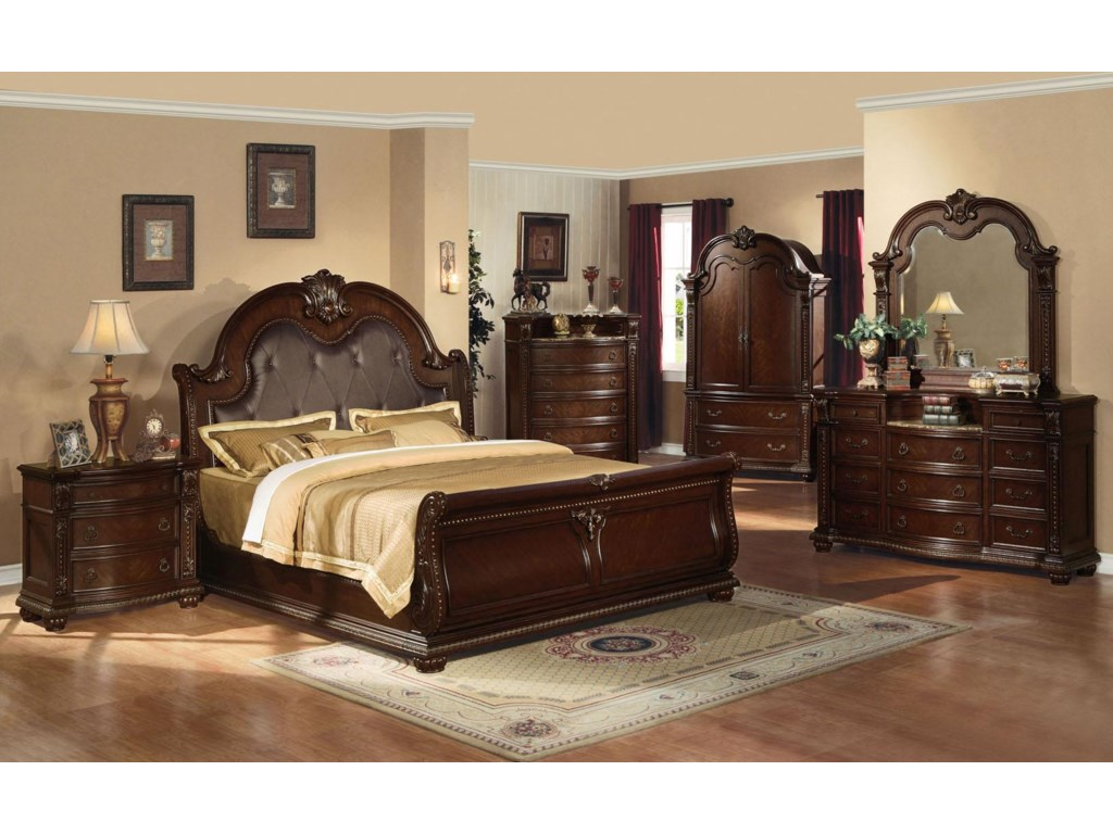 Shown with Nightstand, Bed, Chest, Dresser, and Mirror