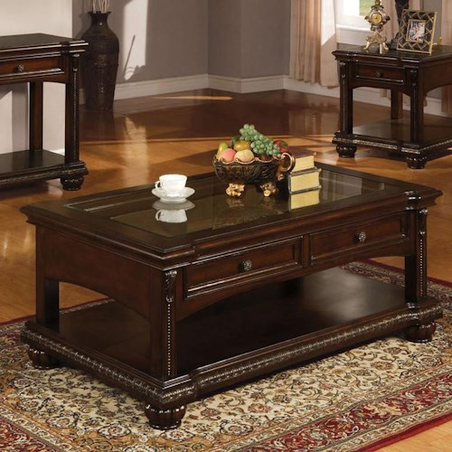 Acme Furniture Anondale Traditional Coffee Table W/Glass