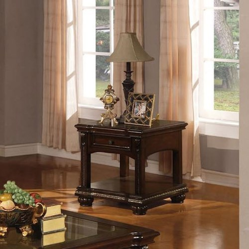 Acme Furniture Anondale Traditional End Table W/Glass