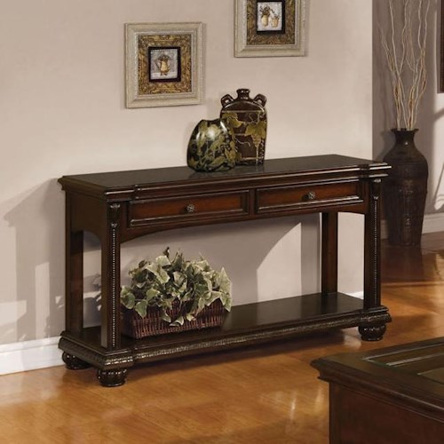 Acme Furniture Anondale Traditional Sofa Table W/Glass