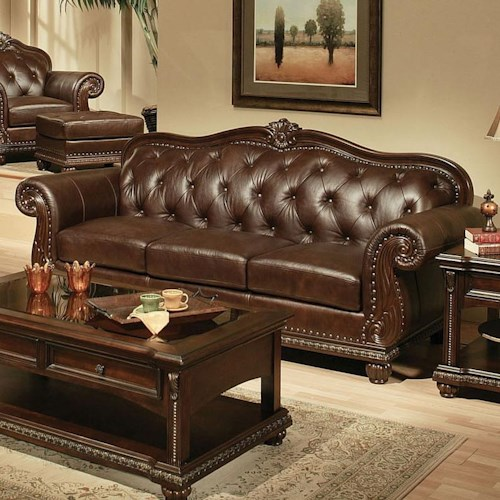 Acme Furniture Anondale Traditional Cherry Top Grain Leather Stationary Sofa