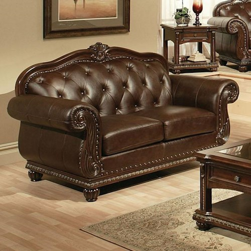 Acme Furniture Anondale Traditional Cherry Top Grain L. Loveseat