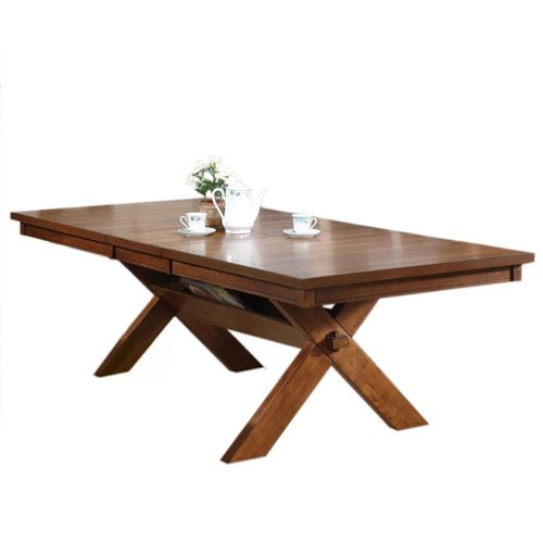 Acme Furniture Apollo Distressed Oak Dining Table with Storage Trestle Base