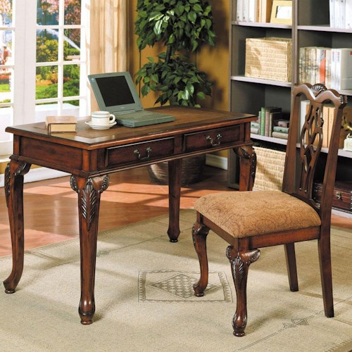 Acme Furniture Aristocrat Writing Desk and Decorative Splat Back Side Chair Set