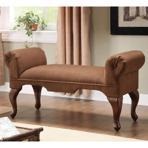 Acme Furniture Aston Traditional Rolled Arm Bench with Cabriole Legs