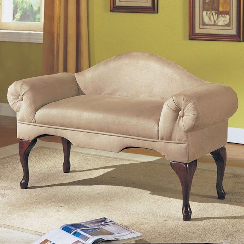 Acme Furniture Aston Traditional Rolled Arm Bench with Shapely Seat Back