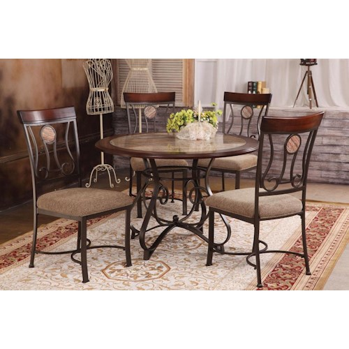 Acme Furniture Barrie 5 Piece Round Table & Upholstered Chair Set