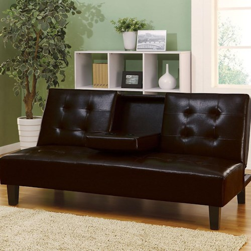 Acme Furniture Barron Adjustable Espresso Sofa with Cup Holders & Button Tufting